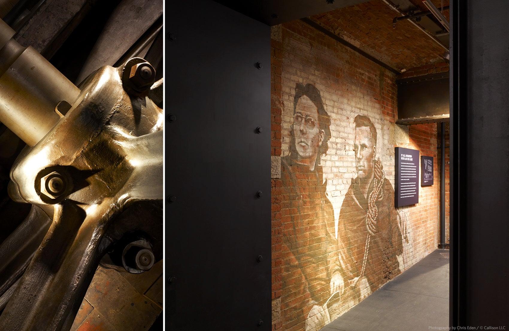 REI, Soho - NYC - Printing press flywheel - Founders mural