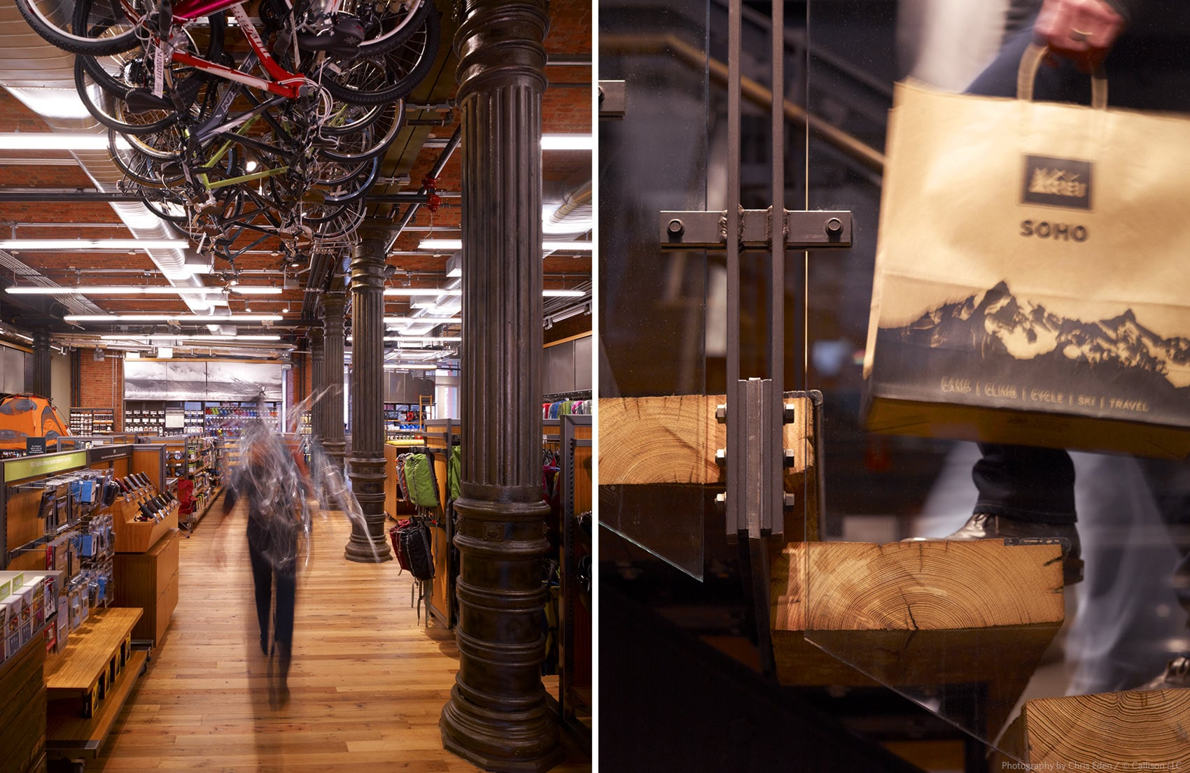 REI, Soho - NYC - Interior - shopper activity