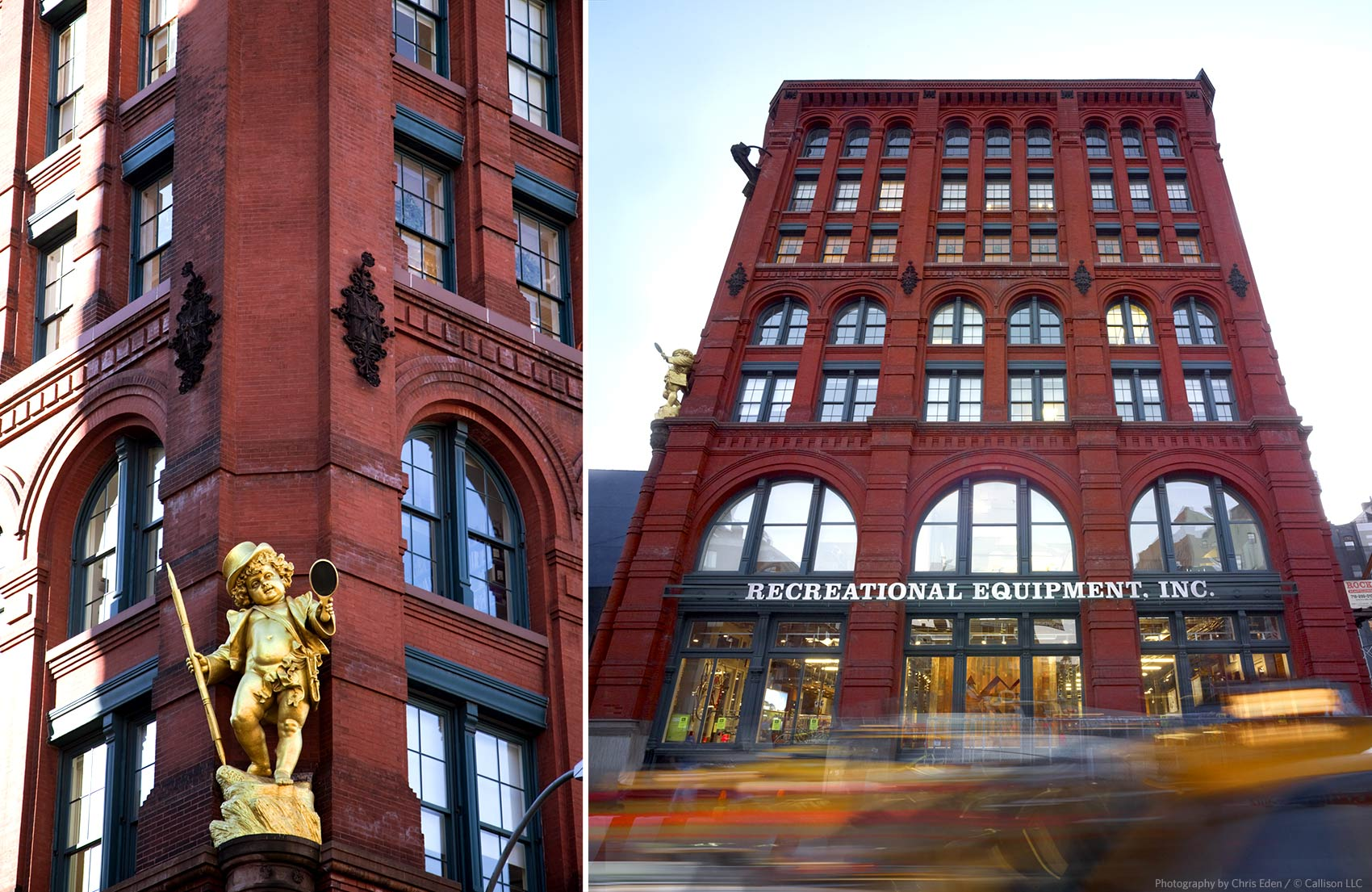 REI, Soho - NYC - Exterior Street view - Puck Building
