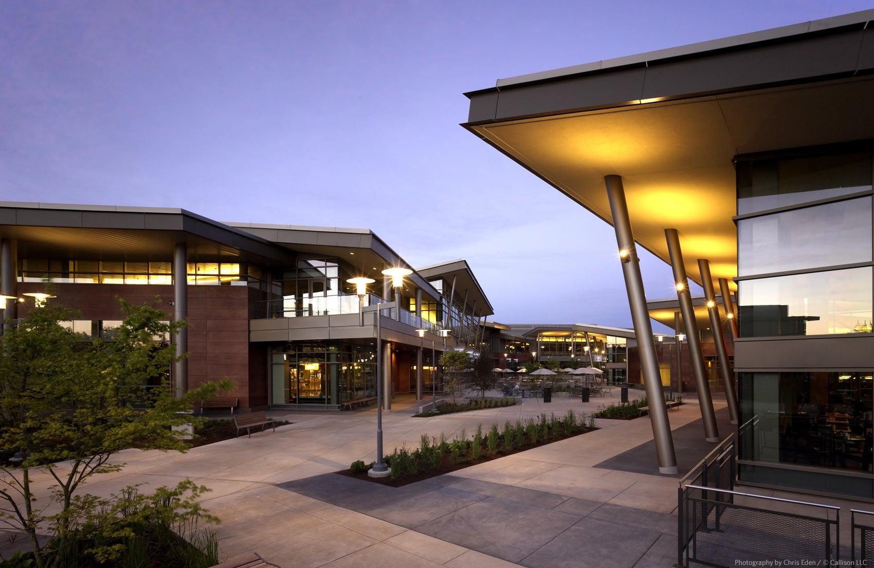 Software Company HQ - Campus twilight exterior