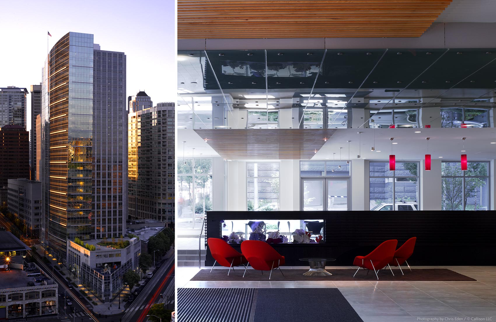 West 8th Office Tower - Dawn exterior and interior lobby